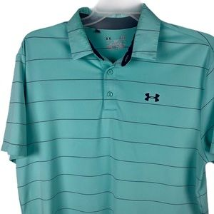 Under Armour Heat Gear Polo Shirt Green Mens Large